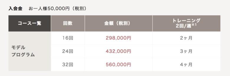 ライザップのモデルプログラムの値段